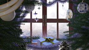 Christmas tree with gifts,window and clock. Concept composition Royalty Free Stock Image