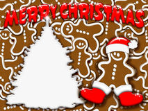 Christmas Tree and Gingerbread-2. A Christmas Background with gingerbread Royalty Free Stock Image