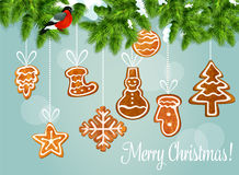 Christmas tree with gingerbread cookie card design royalty free illustration
