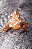 Christmas tree gingerbread cookie and spices Stock Photo