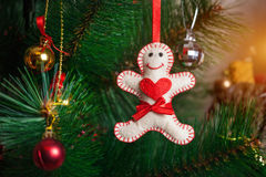 Christmas tree with gingerbread man Stock Photo