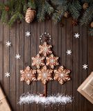 Christmas tree from gingerbread stars stock image