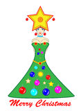 Christmas Tree Girl. Christmas tree woman with Merry Christmas wishes. Vector graphics Stock Photos