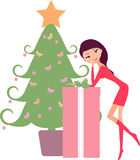 Christmas tree and girl Royalty Free Stock Image