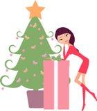 Christmas tree and girl Royalty Free Stock Image