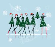Christmas tree girls for your design Royalty Free Stock Photo