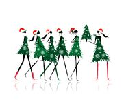 Christmas tree girls for your design Royalty Free Stock Images