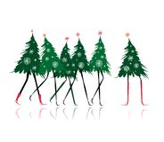 Christmas tree girls for your design Stock Photos