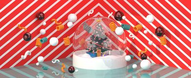 Christmas tree in a glass ball amidst colorful balls on a red and white backdrop. 3d rendering stock illustration