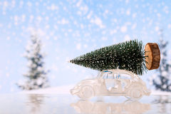 Christmas tree on glass toy car. Christmas tree on toy car, Christmas holiday celebration concept stock photography
