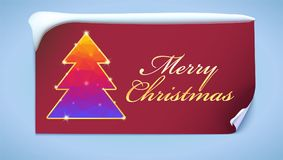 Christmas tree with glitter and flashes. New year tree from color triangles with gold on a red background with greeting. Text, 3D illustration. New year banner Stock Photo