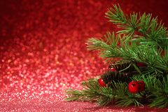 Christmas tree on glittering red background Royalty Free Stock Photography