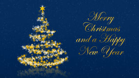 Christmas tree with glittering stars on blue background, english seasons greetings Royalty Free Stock Photography