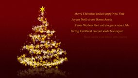 Christmas greetings red stock footage illustration of message christmas tree with glittering stars on red background multilingual seasons greetings royalty free illustration m4hsunfo