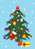 Decorated Christmas tree. Illustration of a decorative Christmas trees with presents and baubles, snowy background Stock Image