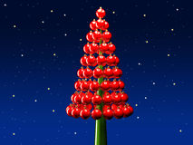 Christmas tree glossy red baubles 3d render Royalty Free Stock Photo