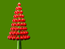 Christmas tree glossy red baubles 3d render Royalty Free Stock Photos