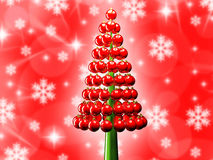 Christmas tree glossy red baubles 3d render Stock Images