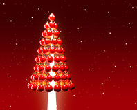 Christmas tree glossy red baubles 3d render Royalty Free Stock Image