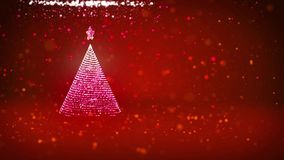 Christmas tree from glow shiny particles on the left in wide angle shoot. Winter theme for Xmas background with copy. Space. 3d Xmas tree V3 with glitter stock footage