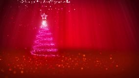 Christmas tree from glow shiny particles on the left in wide angle shot. Winter theme for Xmas background with copy. Space. 3d Xmas tree V1 with glitter stock footage
