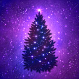 Christmas tree with glowing decoration. Silhouette of Christmas tree with glowing decoration on grunge watercolor violet background with sparkles and falling Stock Image