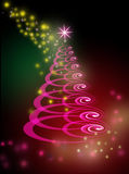 Christmas tree on glowing green and pink background Royalty Free Stock Photography