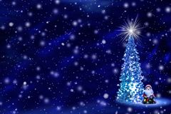 Christmas and New Year`s background with free space for text. Christmas tree with glowing lights on a garland and a shining star on the crown on a blue Northern royalty free stock photo