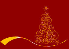 Christmas tree in gold. Gold Christmas Tree isolated on a red background Royalty Free Stock Photo