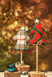 Christmas tree on a gold background. Bokeh Royalty Free Stock Images