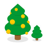 Christmas tree with gold balls. Decorated Holiday tree Stock Image