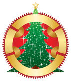 Christmas tree with gold banner. Christmas tree with banner,  illustration Stock Photo