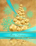 Christmas tree. Gold and blue Stock Images