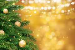 Christmas tree with gold blur bokeh lights background. Vector il vector illustration