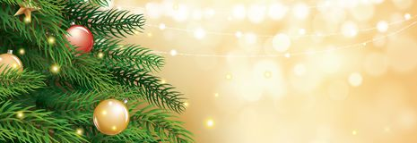 Christmas tree with gold blur bokeh lights background. Vector il royalty free illustration