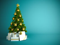 Christmas tree with gold decor  on blue background Royalty Free Stock Photo