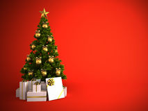 Christmas tree with gold decor isolated Royalty Free Stock Photo