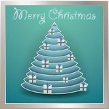 Christmas tree gold decorated with balls, words merry christmas.  Royalty Free Stock Photos