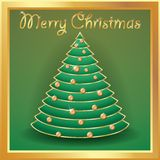 Christmas tree gold decorated with balls, words merry christmas.  Royalty Free Stock Images