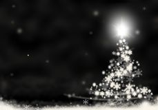 Christmas tree lights formed from stars background black white snow christmas background illustration Stock Image