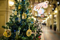 Christmas tree with gold ornaments Stock Photography
