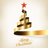 Christmas tree from gold ribbon and star. EPS 10 Stock Images