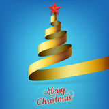 Christmas tree from gold ribbon and star. EPS 10 Royalty Free Stock Images