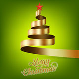 Christmas tree from gold ribbon and star. EPS 10 Stock Photography