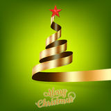 Christmas tree from gold ribbon and star. EPS 10 Stock Photos