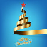 Christmas tree from gold ribbon and star. EPS 10 Stock Photo