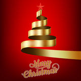 Christmas tree from gold ribbon and star. EPS 10 Royalty Free Stock Photo