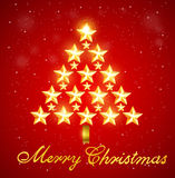 Christmas tree of gold shining stars Royalty Free Stock Photography