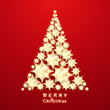 Christmas tree from gold stars Royalty Free Stock Image