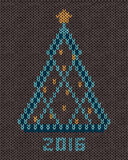 Christmas tree with gold stylized star and balls. New year 2016 vintage card. Knitted hand made embroidery seamless pattern Stock Image